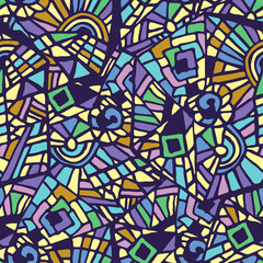 Seamless abstract mosaic multicolored pattern