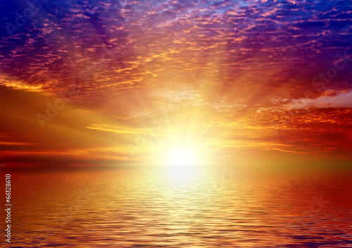canvas print picture Sunset on sea