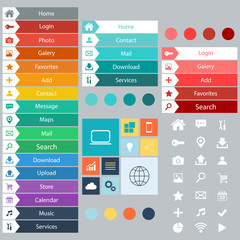 Flat Web Design elements, buttons, icons.