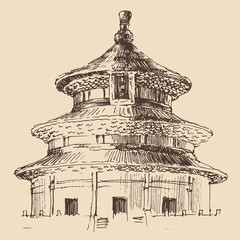 Temple of Heaven, vintage engraved illustration