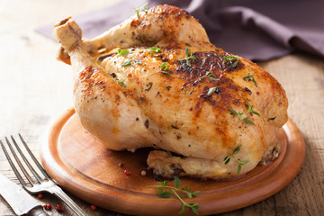 whole roasted chicken with pepper and thyme
