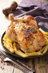 whole roasted chicken with pepper thyme potato