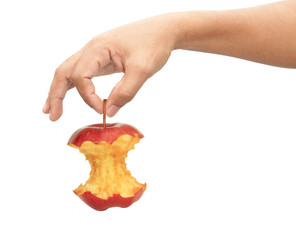 Adult man hand holding apple