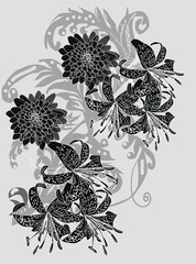 grey decoration with black lily and chrysanthemum flowers