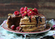 Stack of fried crepes or pancake cake