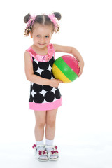 Little girl with the ball