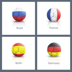 Set of soccer ball over white background