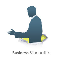 Silhouette of businessman making a deal. Vector design.