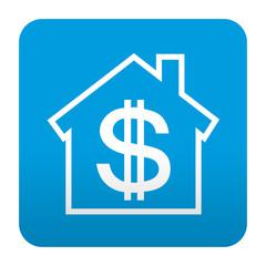Etiqueta tipo app azul simbolo banco
