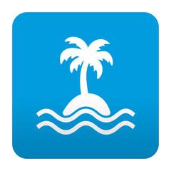 Etiqueta tipo app azul simbolo isla