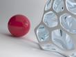 Illustration of red ball against design grid