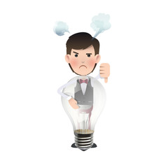 Businessman holding a bulb over white background