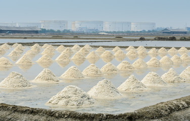 Heap of sea salt in evaporation pond, Thailand