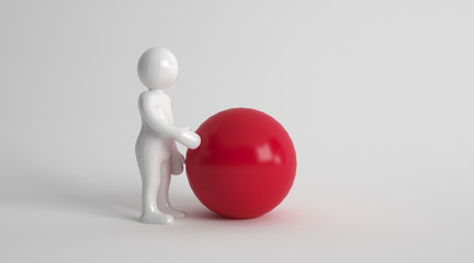 3d character with a large red ball