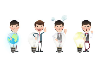 Business people holding bulbs over white background