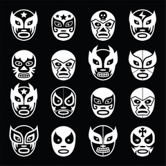 Lucha libre Mexican wrestling white masks icons on black