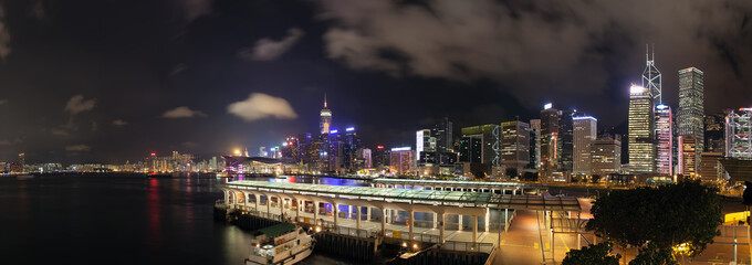 Hong Kong Central Ferry Pier at Night Panorama