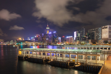 Hong Kong Central Ferry Pier at Night