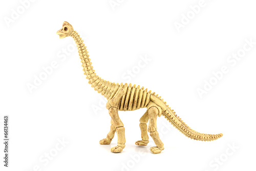 Poster Apatosaurus fossil  skeleton toy isolated on white.