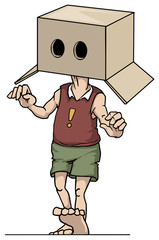 Man wearing a box with eye holes