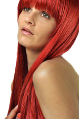 a beautiful woman with the red hair, studio shoot