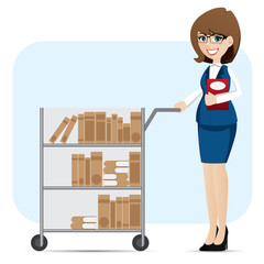 cartoon girl librarian with book trolley