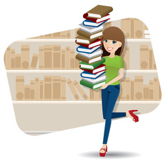 cartoon smart girl carrying pile of book in library