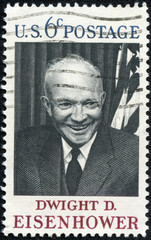 stamp printed in USA, shows Gen  Dwight D  Eisenhower