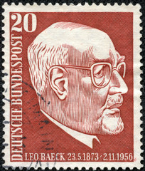 stamp printed in Germany, shows portrait of Leo Baeck