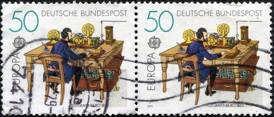 stamps printed in Germany shows Telegraph office in 1863