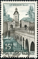 stamp printed in the France shows Le Quesnoy Bridge
