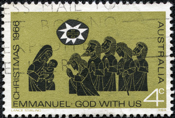 stamp from Australia illustrating Adoration of the sheperds