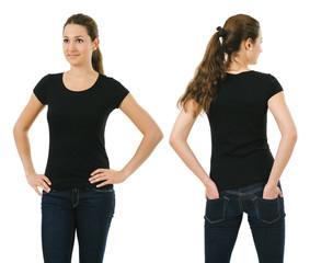 Smiling woman wearing blank black shirt
