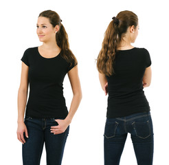 Happy woman wearing blank black shirt