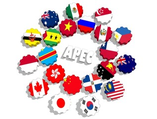 apec union members flags on gears