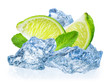 Lime fruit with mint in ice isolated on white background