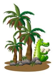 A crocodile reading near the coconut trees