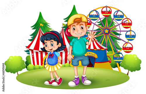 Kids in front of the carnival - 66141644