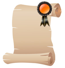 An empty scrolled paper with a ribbon