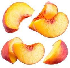 Peach slices isolated on white background