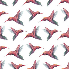 Watercolor birds illustration. Seamless pattern