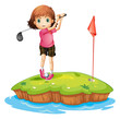 An island with a girl playing golf
