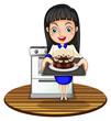 A girl baking a cake