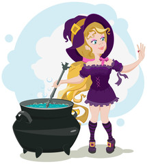 Cute witch cooks potion and admires ring
