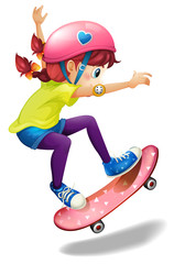 A young woman skating