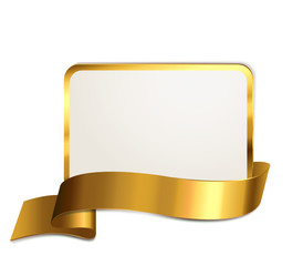 Schild mit Banderole - Gold