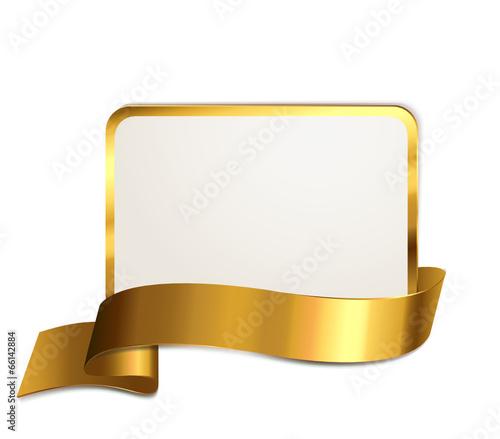 Schild mit Banderole - Gold - 66142884