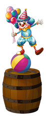 A clown above the barrel