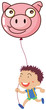 A boy holding a pig balloon