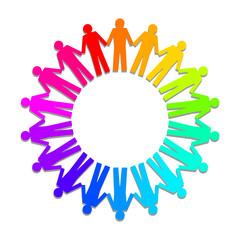 Menschenkreis in Regenbogenfarben